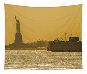 Sunset On Ny Harbor Tapestry