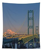 1a4y20-v-sunset On Rainier With The Tacoma Narrows Bridge Tapestry