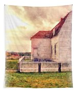 Sunset On The Old Farm House Tapestry