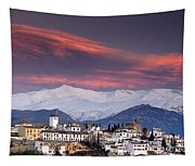 Sunset Over Granada And The Alhambra Castle Tapestry