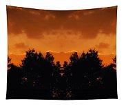 Sunset Over Jackson Michigan Mirror Image Tapestry