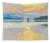 Sunset Over Lake Ruovesi Tapestry