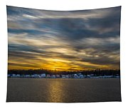 Sunset Over Snow Covered Village Tapestry