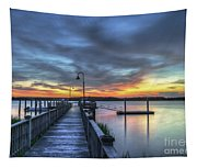 Sunset Over The River Tapestry