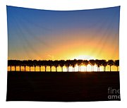 Sunset Over Tree Lined Road Tapestry