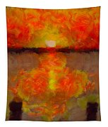 Sunset Reflections On The Dock Tapestry