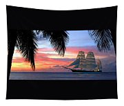 Sunset Sailboat Filtered Tapestry