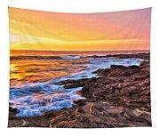 Sunset Shore Break Tapestry