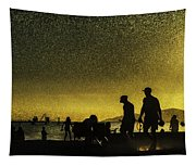 Sunset Silhouette Of People At The Beach Tapestry