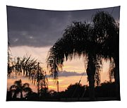 Sunset Through The Palms Tapestry