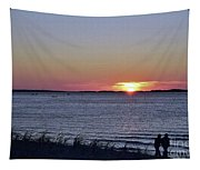 Sunset Walk Along The Beach Tapestry
