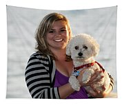 Sunset With Young American Woman And Poodle Tapestry