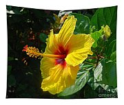 Sunshine Yellow Hibiscus With Red Throat Tapestry