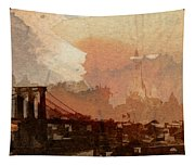 Sunsrise Over Brooklyn Bridge Tapestry