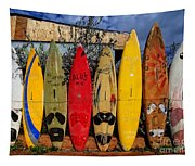 Surf Board Fence Maui Hawaii Tapestry