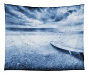 Surfboard On The Beach Tapestry
