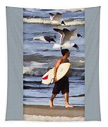 Surfer And The Birds Tapestry
