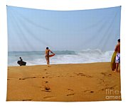 Surfers At Newport Beach Tapestry