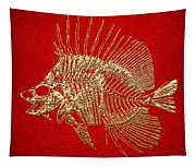 Surgeonfish Skeleton In Gold On Red  Tapestry
