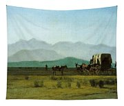 Surveyors Wagon In The Rockies Tapestry