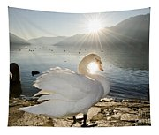 Swan In Sunset Tapestry