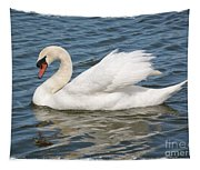 Swan On Blue Waves With Border Tapestry