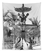 Swan Statue - Black And White With Vignette Tapestry
