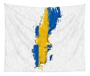 Sweden Painted Flag Map Tapestry