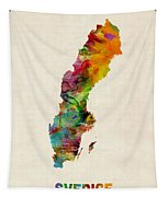 Sweden Watercolor Map Tapestry