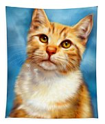 Sweet William Orange Tabby Cat Painting Tapestry