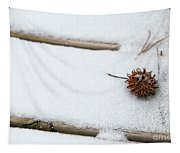Sweetgum Seed Pod In The Snow Tapestry