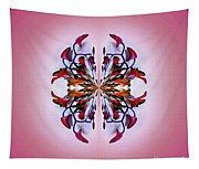 Symmetrical Orchid Art - Reds Tapestry