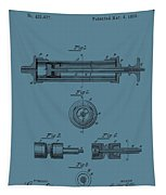 Syringe Patent Drawing Blue Tapestry