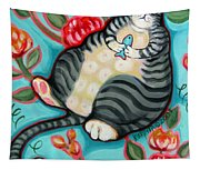 Tabby Cat On A Cushion Tapestry
