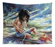 Tahitian Boy With Knife Tapestry