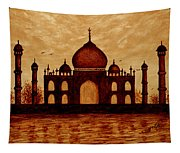 Taj Mahal Lovers Dream Original Coffee Painting Tapestry
