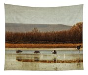 Takeoff Of The Cranes Tapestry