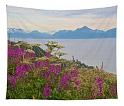 Tall Fireweed And Cow Parsnip Over Cook Inlet Near Homer- Ak Tapestry