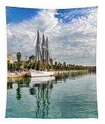 Tall Ships And Palm Trees - Impressions Of Barcelona Tapestry