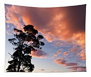 Tall Tree Against A Dramatic Sunset Clouds Sky Tapestry