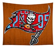 Tampa Bay Buccaneers Football Team Retro Logo Florida License Plate Art Tapestry