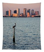 Tampa Skyline And Pelican Tapestry