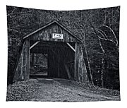 Tappan Covered Bridge Bw Tapestry