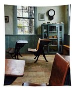Teacher - One Room Schoolhouse With Clock Tapestry