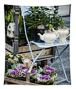 Teapots And Flowers Tapestry