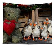 Teddy Bear With Flock Of Stuffed Ducks Tapestry