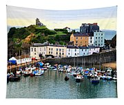 Tenby Harbour Panorama Tapestry