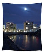 Tent City At Night Tapestry