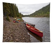 Tents And Canoes At Mcquesten River Yukon Canada Tapestry