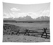 Teton Landscape With Fence - Black And White Tapestry